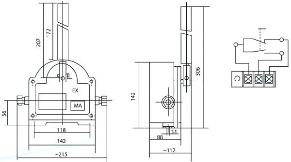 BZX-220/3本安隔爆矿用跑偏开关安装与接线图