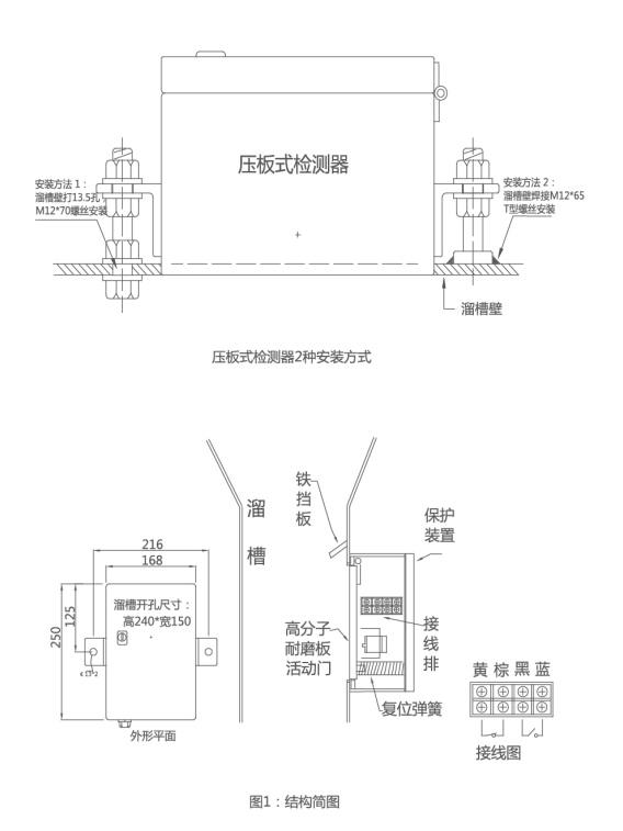 溜槽堵塞保护装置安装与接线图